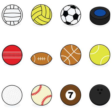 様々 なスポーツのための漫画ボール セット: バレーボール、水球、サッカー、ホッケー、コオロギ、フットボール、バスケット ボール、テニス、ゴルフ、野球、ビリヤード、ボウリング