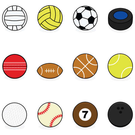 equipamento: Set with cartoon balls for different sports: volleyball, water polo, soccer, hockey, cricket, football, basketball, tennis, golf, baseball, billiards and bowling