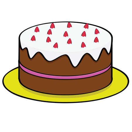 Cartoon illustration of a chocolate cake with strawberry topping and filling Vector