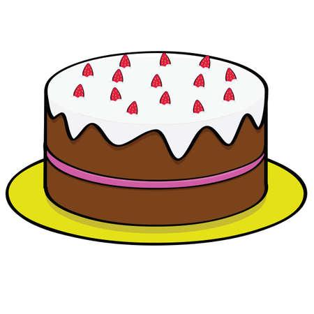 Ilustracja kreskówka ciasto czekoladowe z polewą truskawkową i nadzieniem Ilustracje wektorowe