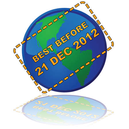 Concept illustration showing Earth with an expiry date message, in reference to the (erroneous) popular belief that the Mayans had predicted the end of the world for 2012 Stock Vector - 9584632