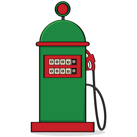 Cartoon illustration of a vintage-style gas pump