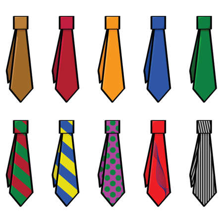 Cartoon illustration of set with different colors and patterns for ties Stock Illustratie
