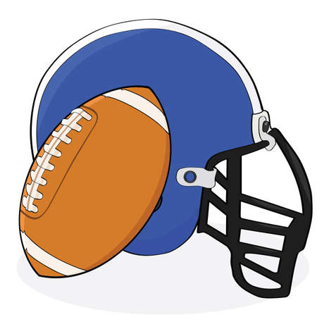 Cartoon illustration showing an American football and a helmet