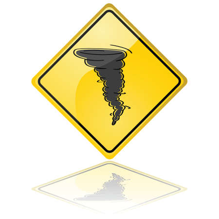 Glossy illustration of a warning sign showing a tornado