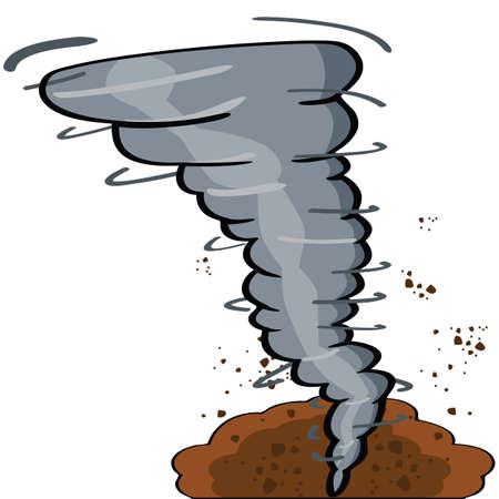 Cartoon illustration showing a tornado causing destruction  Vector