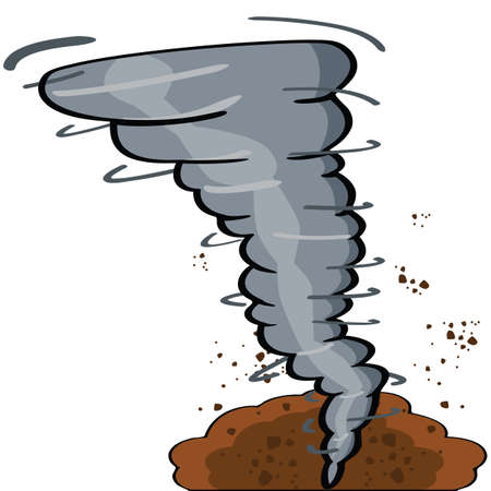 strong: Cartoon illustration showing a tornado causing destruction