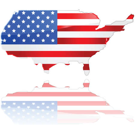 Glossy illustration showing a flag of the United States over the country's map Stock Vector - 9630476