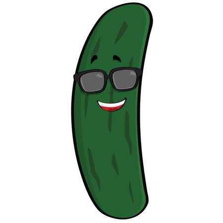 zucchini: Ilustraci�n animada de un pepino fresco deportivos un par de gafas de sol Vectores
