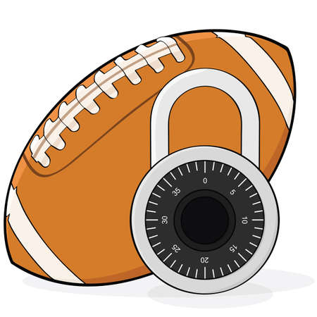 lockout: Concept illustration showing a football and a combination padlock, in allusion to a football league lockout