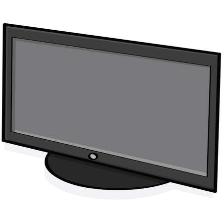 Cartoon illustration showing a high-definition television set Vector