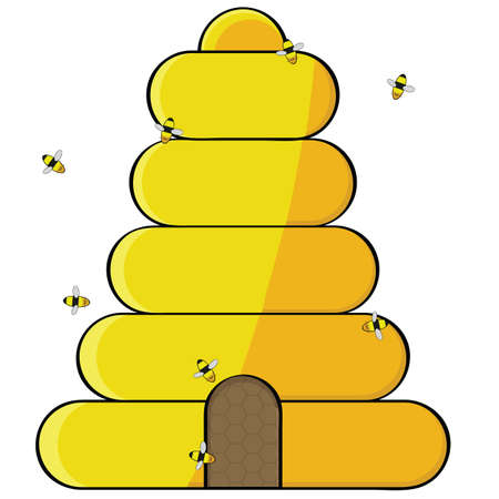 Cartoon illustration showing bees flying towards the opening of a beehive 일러스트