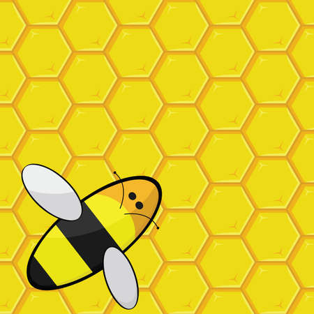 Cartoon illustration showing a bee over a honeycomb Vector