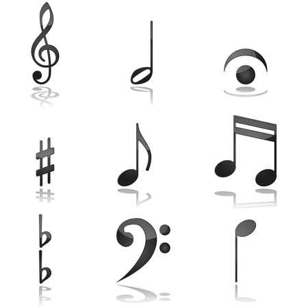 一般的に音楽の表記法で使用されるさまざまなグラフィックを示す光沢のある図