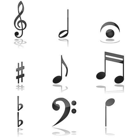 composer: Glossy illustration showing different graphics commonly used in music notations