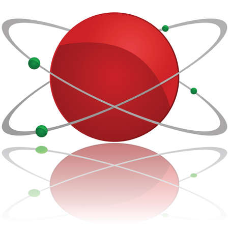 orbit: Glossy illustration showing an atom with a red core and green electrons