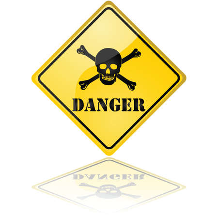 poison: Glossy illustration of a danger sign showing a skull with crossed bones