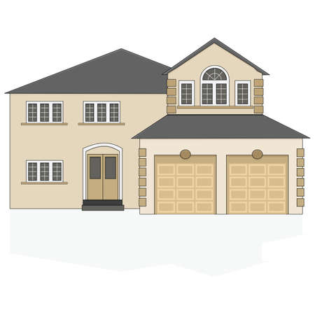 modern house: Illustration of a fancy North American suburban home with a two-car garage