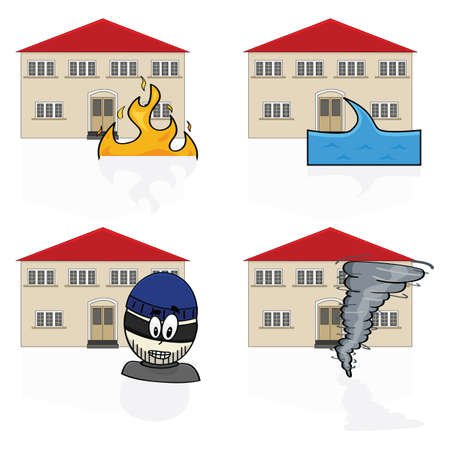 fire damage: Illustration of an icon set showing a house with different hazards.