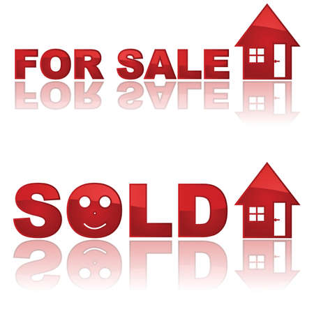 Set of two glossy real estate signs showing a house for sale and another one sold Çizim