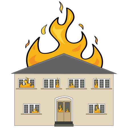brandweer cartoon: Beeldverhaalillustratie met een twee-verdiepingen tellend huis in brand Stock Illustratie