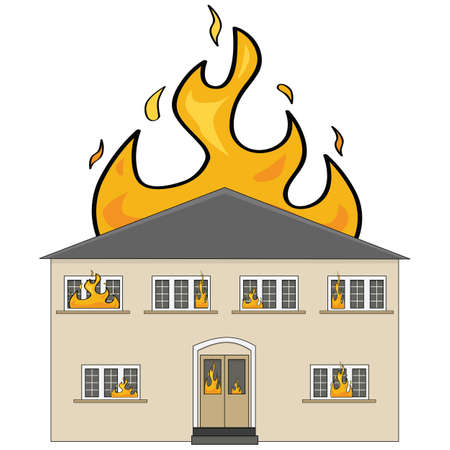 Cartoon illustration showing a two-storey house on fire