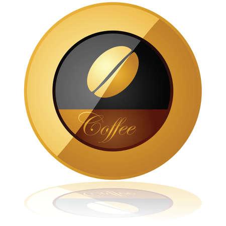 Glossy Darstellung eines eleganten Kaffee Schaltfläche reflektiert über einem weißen Hintergrund Standard-Bild - 9864320