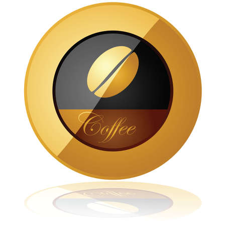 Glossy illustration of an elegant coffee button reflected over a white background