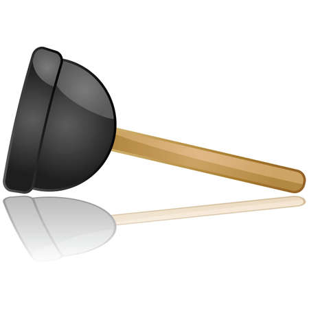 obstruction: Glossy illustration of a toilet or sink plunger reflected over a white background