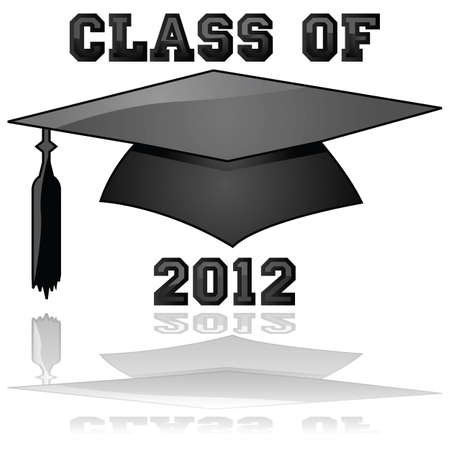 Glossy illustration of a hat and the words Class of 2012, reflected on a clear background Vector