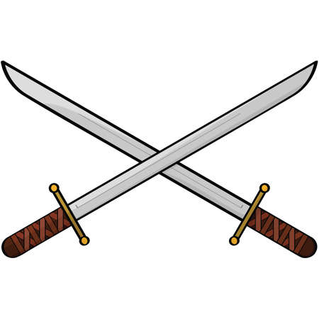warriors: Cartoon illustration showing two antique swords Illustration