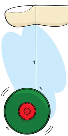 spinning: Cartoon illustration showing a finger and a yo-yo spinning