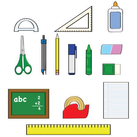 Cartoon ilustrace set ukazuje různé školní potřeby, jako jsou tužky, pravítka a gumy