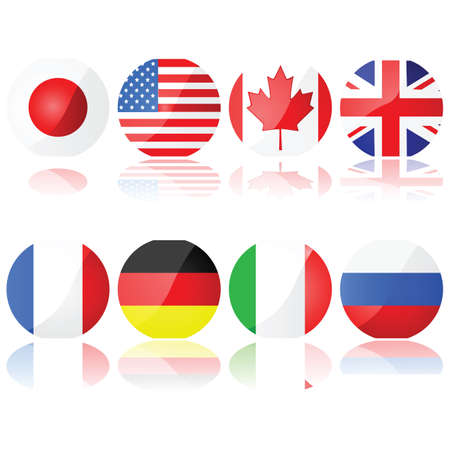 representations: Illustration set showing buttons with the flags of the countries that compose the G-8 (Group of Eight) Illustration