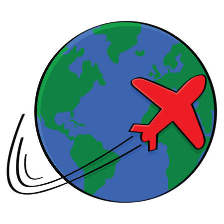 overseas: Illustration showing the outline of an airplane going around the world Illustration