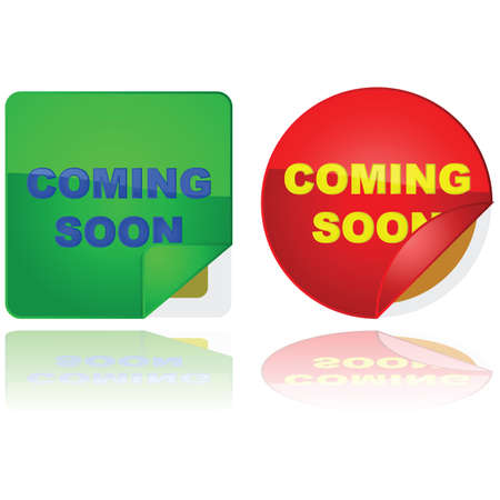 Glossy illustration of two stickers with the words 'Coming Soon' on them and a corner lifted to give a sneak peek of what's behind them Stock Vector - 10085183