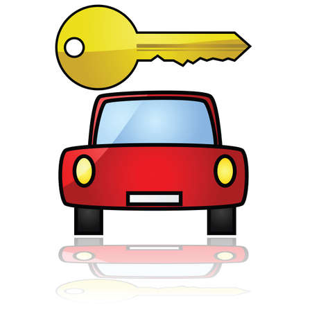 rental: Glossy illustration showing a compact car with a key over it