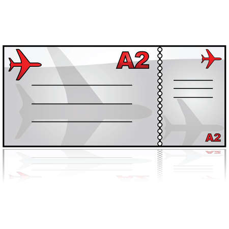 airplane ticket: Glossy illustration showing a generic airplane ticket