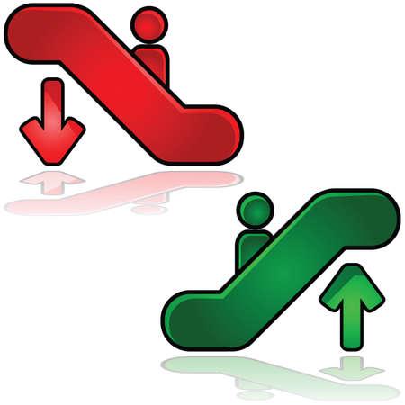 Lesklý ilustrace eskalátorů příznaků: člověk jít nahoru a druhý dolů