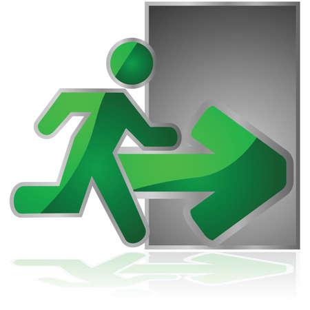salida de emergencia: Ilustración brillante de una señal de salida con un hombre corriendo hacia una puerta