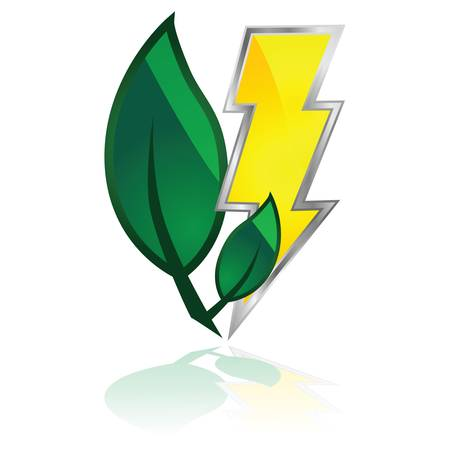 Glossy illustration showing a couple of leaves and a lightning, to represent green power