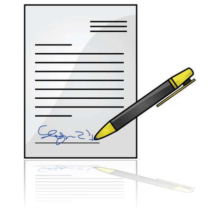 Glossy illustratie toont een document met een handtekening aan de onderkant Stock Illustratie