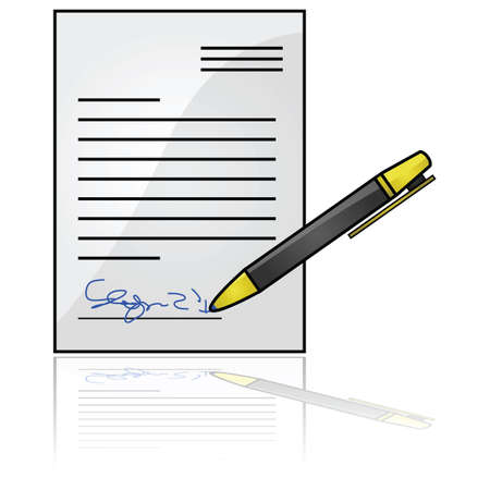 official symbol: Glossy illustration showing a document with a signature at the bottom