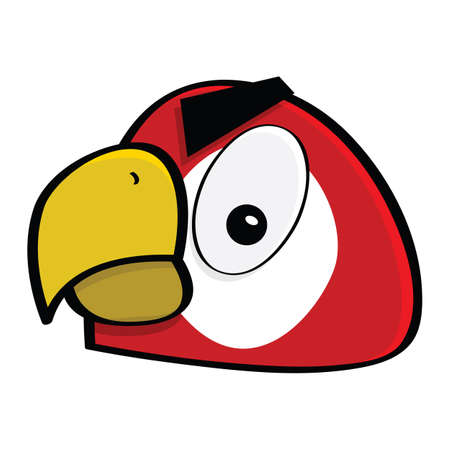 Cartoon illustration showing a close-up of the face of an angry red macaw Ilustrace