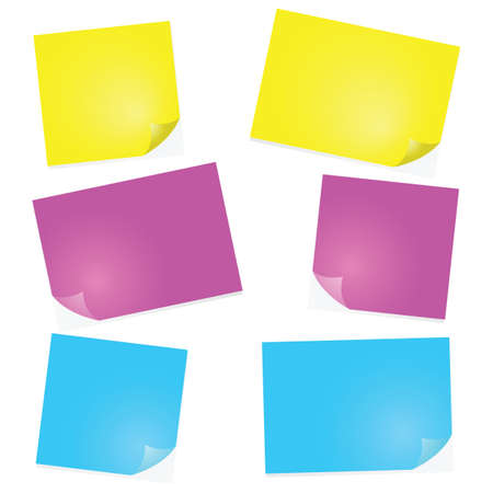 Illustration of post-it notes in different sizes and colors