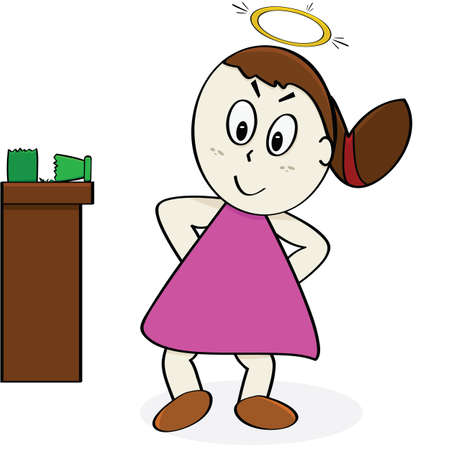 Cartoon illustration of a girl pretending to be an angel after breaking up a vase Stock Vector - 10360173