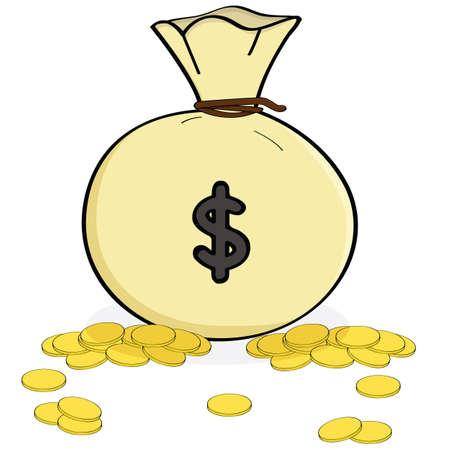 geld: Cartoon illustratie toont een zak met geld met munten verspreid over het