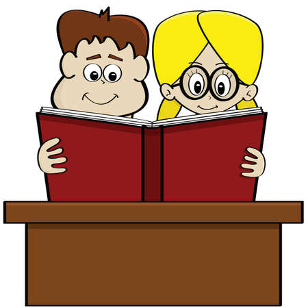 Cartoon illustration showing a boy and a girl studying together reading a book