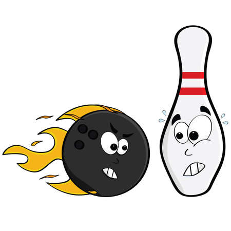 Cartoon illustration showing an angry bowling ball and a pin afraid of being hit Çizim