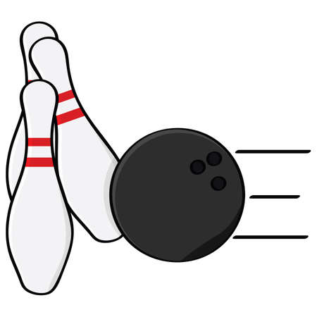 Cartoon illustration showing a bowling ball hitting some pins Vectores
